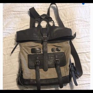 "Handbags - Sherpani Tan and Brown Leather ""Amelia"" backpack"